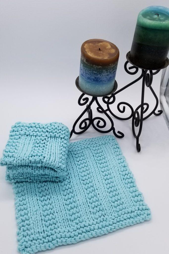 Knitted samples of Cedar Rock washcloth pattern
