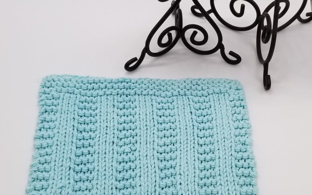 Knitted samples of Cedar Rock dishcloth and washcloth knitting pattern