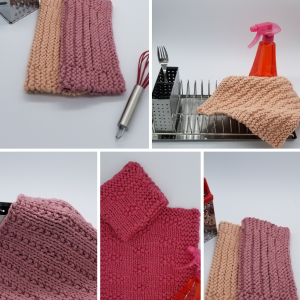 Collage of blocked dishcloths